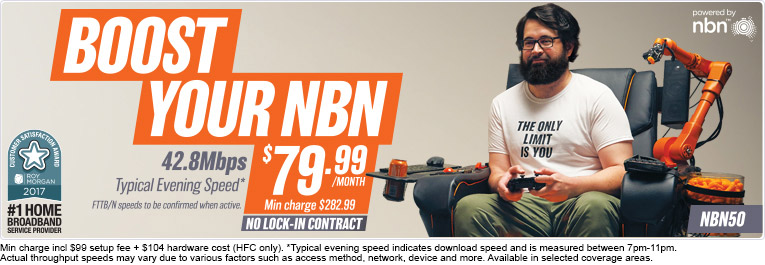 Unlimited NBN Data. $79.99 on a no lock-in contract. Min Charge $282.99