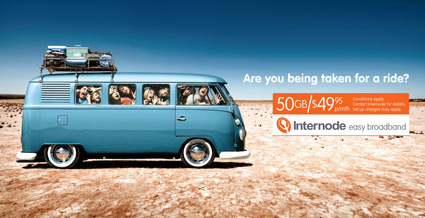 Are you being taken for a ride? Internode Easy Broadband Advertisement with Kombi Van jam packed full of people - $49.95 per month, 50GB