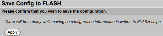 Screenshot: Save Config to FLASH