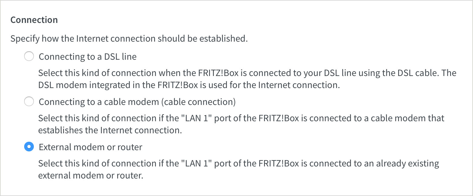 Fritz!Box connection settings
