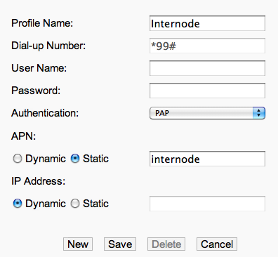 Configuring Internode Profile