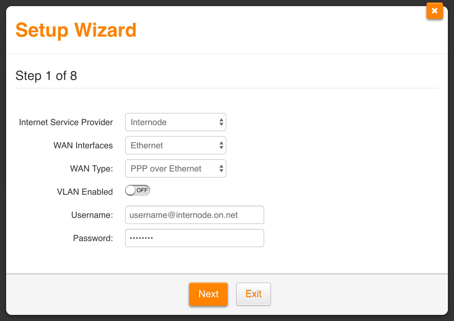 Screenshot: Setting up your Fibre service with the setup wizard