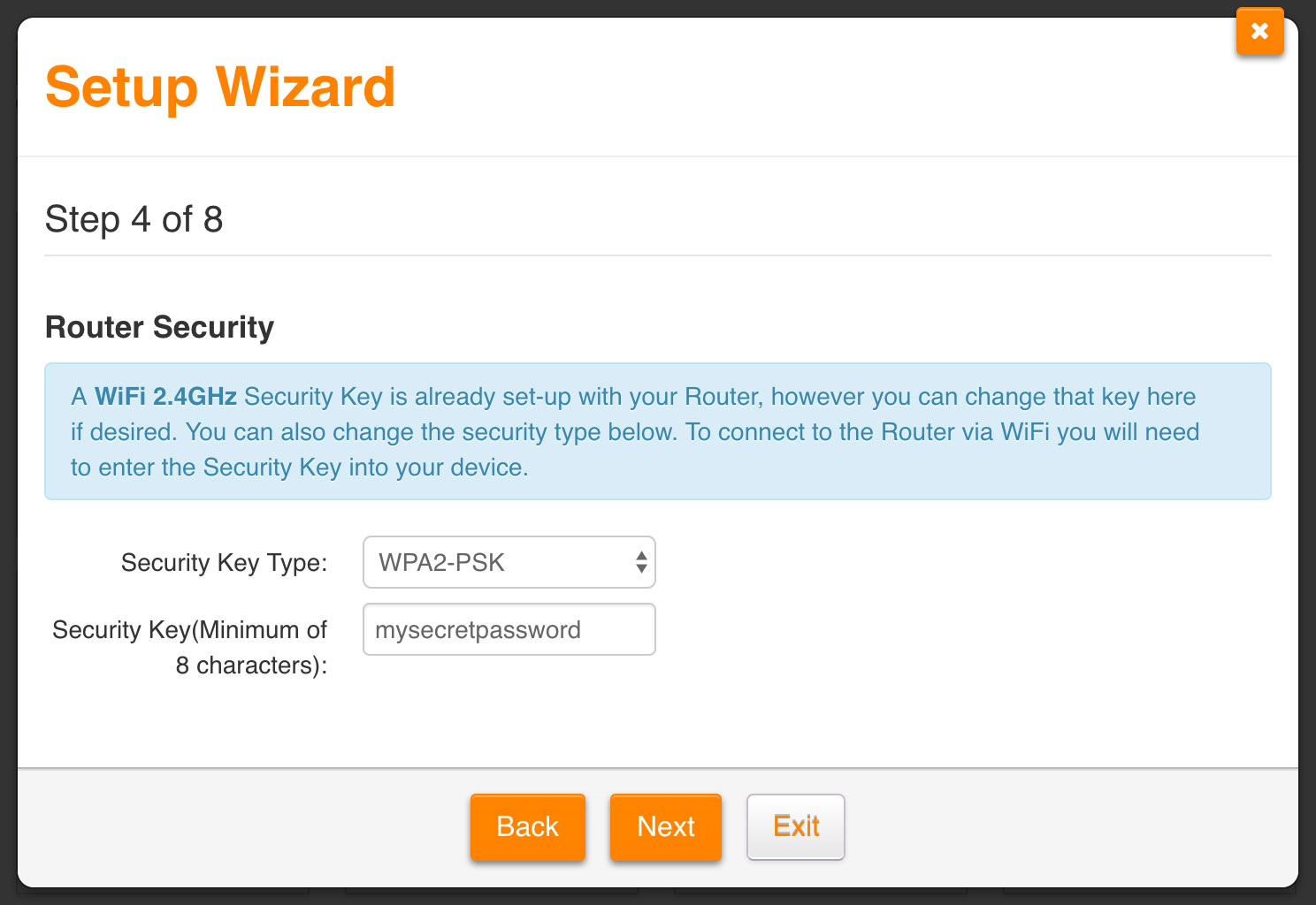 Screenshot: Setting up a password for your 2.4 GHz WiFi