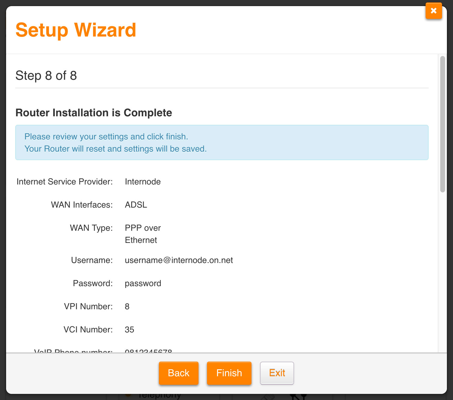 Screenshot: Reviewing settings and finishing the wizard