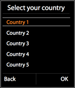 Selecting a country from the list