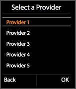 Selecting a provider from the list