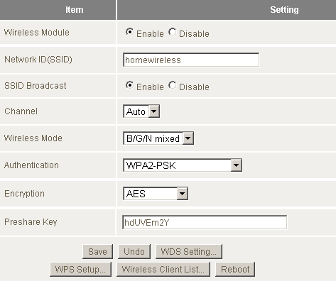 The NetComm NP805N Wireless Configuration Page